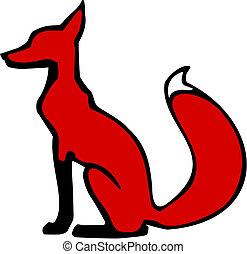 seated Fox - vector illustration of a sitting fox in profile