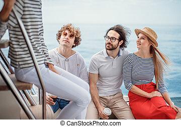 seatrip, sentado, viaje, gente, amigos, cubierta, yate, concepto, amistad, -