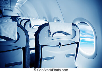 Empty aircraft seats and windows, Blue tone map
