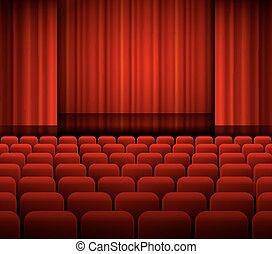 seats., cortinas, luz teatro, abierto, rojo