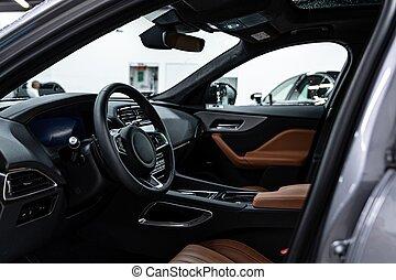 seats., leder, interieur, moderne, auto