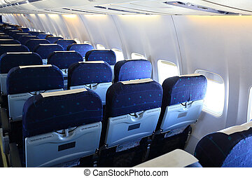 Seats of economy class in airplane