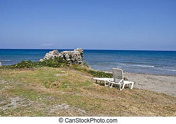 seats on Rhodes island beach