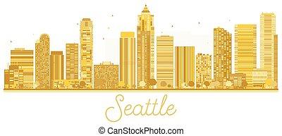 seattle γραμμή ορίζοντα , πόλη , χρυσαφένιος , silhouette.