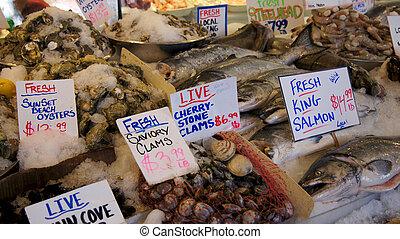 seattle, 華盛頓, 美國, -, october, 2014, -, 新鮮的海鮮, 顯示, 在, 梭子魚, 地方, 公開市場
