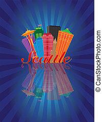 seattle, abstract, skyline, reflectie, achtergrond, illustratie