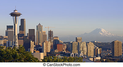 Seattle and the Mountain - The Seattle skyline on a clear...