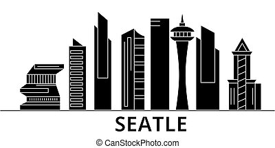 Seattle architecture vector city skyline, travel cityscape with landmarks, buildings, isolated sights on background