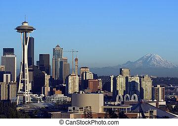Seattle at Night - Seattle panorama at dusk