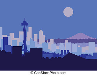 Seattle at Night - Seattle skyline and Mt Rainer against...