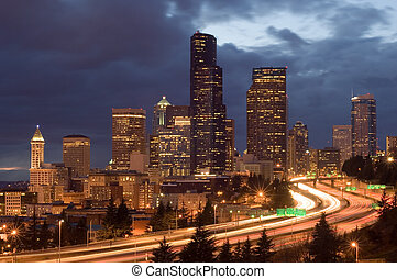 Seattle at night - Washington\\\'s biggest city with weekend...