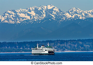 Seattle Bainbridge Island Car Ferry Puget Sound Olympic Snow Mountains Washington State Pacific Northwest