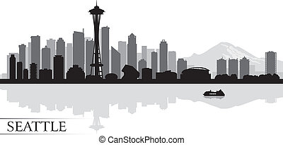 seattle, bakgrund, horisont, stad, silhuett
