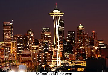 Seattle brightest at night - Dazzling image of the emerald...
