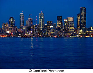 Looking East From Harbor Ave Toward Downtown Seattle at Dusk
