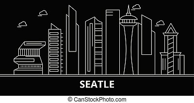 Seattle city silhouette skyline. USA - Seattle city vector city, american linear architecture, buildings. Seattle city travel illustration, outline landmarks. USA flat icons, american line banner