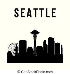 Seattle city simple silhouette. Modern urban background....