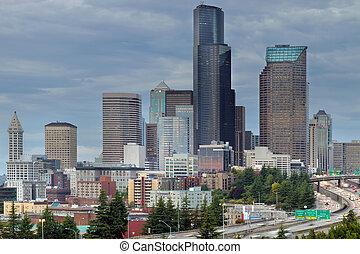 Seattle City Skyline at Rush Hour