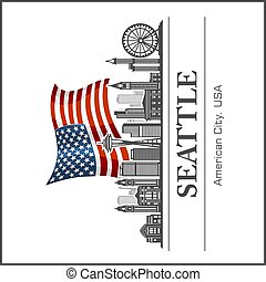 Seattle city skyline detailed silhouette on USA flag. Vector illustration.