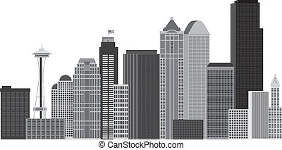 Seattle City Skyline Grayscale Illustration - Seattle...