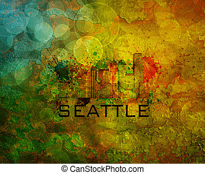 Seattle City Skyline on Grunge Background Illustration