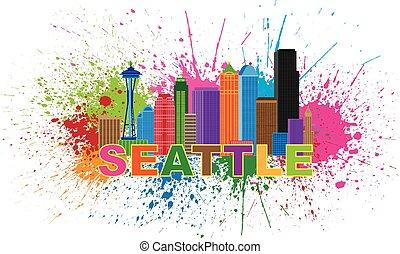 Seattle City Skyline Paint Splatter Illustration