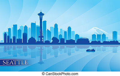 Seattle city skyline silhouette background, vector...