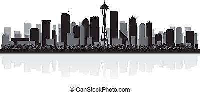 Seattle city skyline silhouette - Seattle USA city skyline...