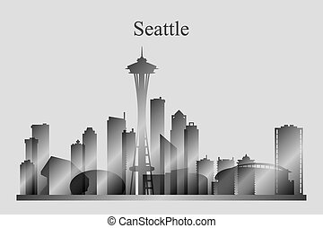 Seattle city skyline silhouette in grayscale, vector...