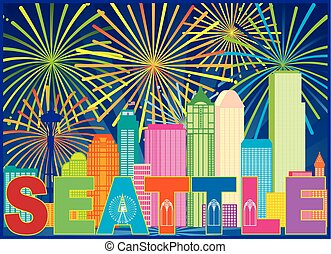 Seattle City Skyline Text Fireworks Color Illustration