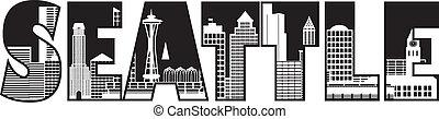Seattle City Skyline Text Outline Illustration - Seattle...