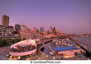 Seattle city - Wide angle view of the city of seattle with...