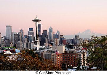 Seattle cityscape - Beautiful city of Seattle glowing at...