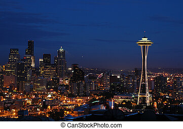 Seattle Cityscape - Seattle's Downtown and Space Needle at...
