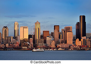Seattle downtown skyline at dusk viewed from Hamilton park
