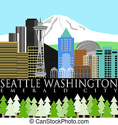 Seattle Washington Downtown Skyline with Mount Rainier Color Illustration