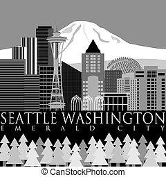 Seattle Downtown Skyline with Mount Rainier - Seattle...