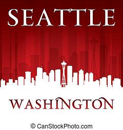seattle, fond, horizon, ville, washington, rouges, silhouette