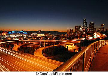 Seattle Freeways - A night shot of freeways and Seattle...