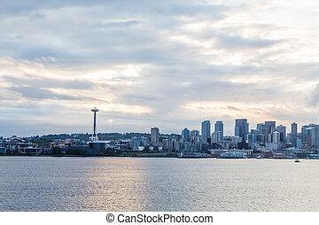 Seattle from Sea at Dawn