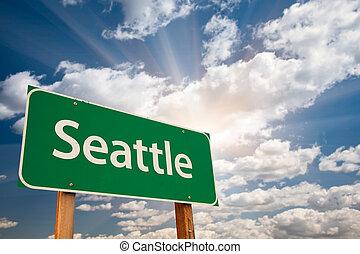 seattle, grün, straße zeichen, aus, wolkenhimmel