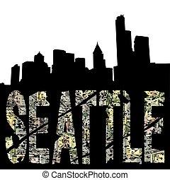 Seattle grunge text with skyline