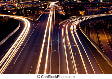 Seattle highways - American interstate at night