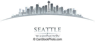seattle, hintergrund, skyline, stadt, washington silhouette, weißes