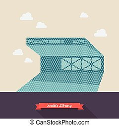 Seattle library vector illustration