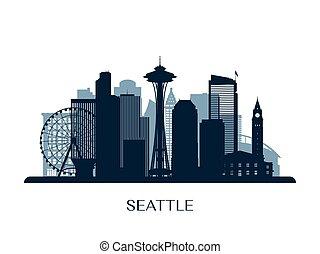 seattle městská silueta, monochróm, silhouette.