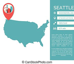 Seattle map infographic vector  illustration