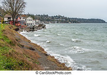 seattle ouest, rivage, maisons