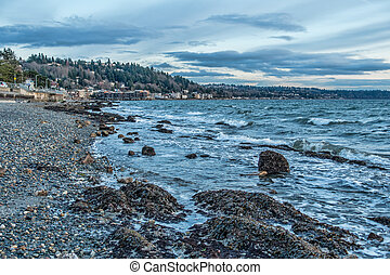 seattle ouest, rivage, orageux