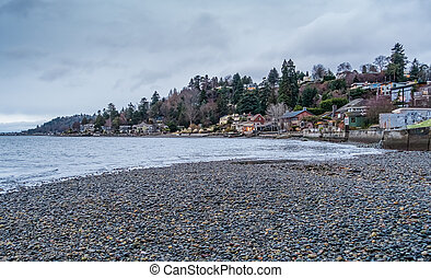 seattle ouest, rivage, paysage, maisons
